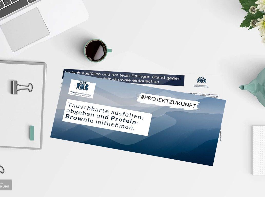 Print: Tauschkarte für Ausbildungsmesse_tecis Finanzdienstleistungen